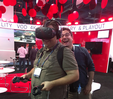 Tim Read at NAB 2016 viewing VR